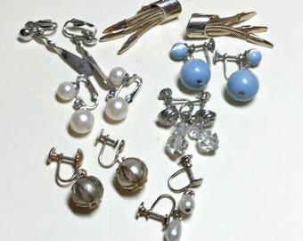 Seven pairs of vintage dangle earrings, vintage earring lot, vintage jewelry lot, vintage craft lot, clip earring lot, 1950s-60s E72
