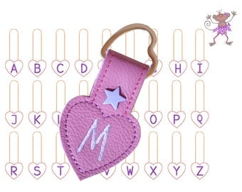 Embroidery file key chain heart A-Z