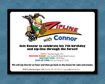 ZIPLINE Party Invite - BOY