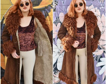 Vintage 70's sheepskin fury penny lane coat