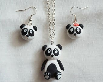 Necklace and Earring Set black and white PANDA ear