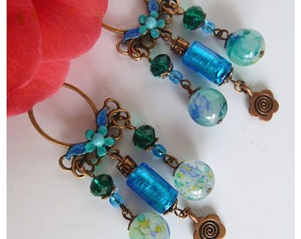 """Earrings clip style boho-chic """"Kupros"""" copper antiqued turquoise lampwork glass, marbled glass, faceted glass"""
