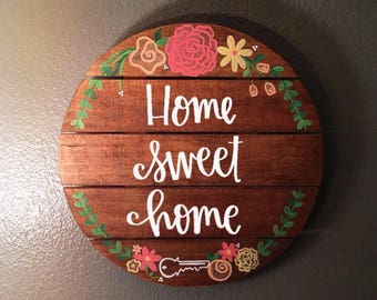 Home Sweet Home | Home Sweet Apartment | Floral Wooden Hanging Sign | Apartment Decoration | Stained Wooden Signage
