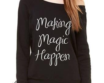 Making Magic Happen Slouchy Off Shoulder Oversized Sweatshirt