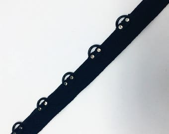 "1/2"" Black Eyelet Grommet Crystal Rhinestone Tape by Yard"