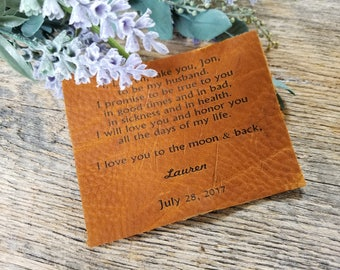 3rd Anniversary Gift, Vows Engraved Leather Plaque, Custom Engraved