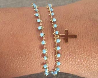 Blue Cross bead gold plated bracelet