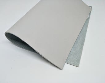 "Leather Scrap, Genuine Leather, Leather Pieces, Pearl Grey, Size 8.25"" by 11.5""  Leather Scrap for DIY Projects."