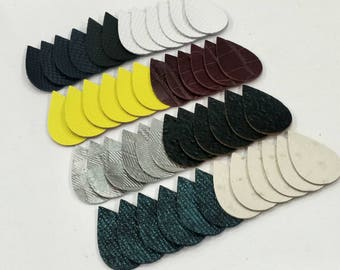 Embossed Leather Teardrops, 50 Pcs. (25 Pairs), 40mm. 50mm. 57mm. Long, Mixed Colors, Teardrop Die Cut, Teardrop Shapes, Earing Accessories.
