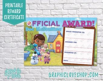 Printable 4x6 Doc McStuffins Award Certificate | Digital JPG File, Instant Download