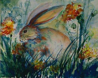 Rabbit painting, Original watercolor painting, Nursery decor, Nursery art, Watercolor rabbit painting, Watercolor animal painting, kids room