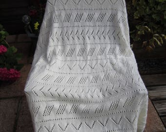 Handmade Knitted Cream Lace Baby Blanket