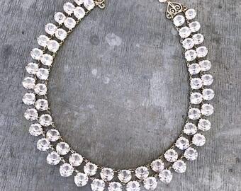 Vintage crystal necklace, open back bezel set necklace, 50's glass necklace, bridal jewellery, aurora borealis necklace, 2 strand glass