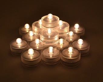Pack of 12, Bright Battery Sub Led Underwater Submersible Waterproof Tea Light Candle for Wedding Party Xmas Decoration