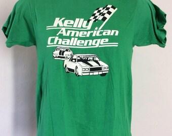 Vtg 80s Kelly American Challenge T-Shirt Green S Screen Stars 50/50 Auto Racing