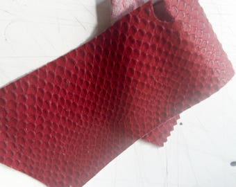 Strip of burgundy mat snake embossed calf leather