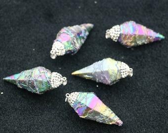 Titanium Druzy Nugget Necklace Point Pendant, 3Colors for Choice, Top Crystal 10-15x25mm each, 5pcs/lot