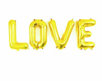 LOVE Gold Letter Balloons ~ Wedding Shower Decorations ~ Wedding Photo Prop ~ Custom Letter Balloons ~ 14 inch Air Fill Only