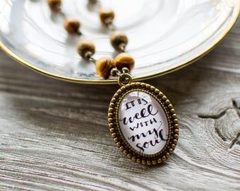 It Is Well With My Soul Hand Lettered Wooden Necklace, Scripture Necklace, Miscarriage Gifts, Inspirational Gifts for Her, 602061