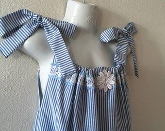 Little Girl's Dress - Size 7 -  Girl's Clothing - Pillow Case Dress - Cotton - Girl's Summer Dress - Upcycled Children's Fashion