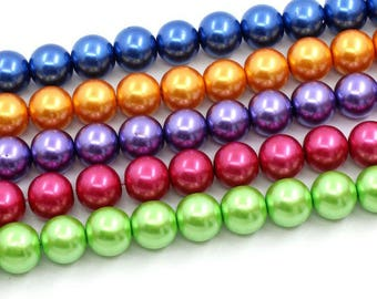 65 12mm round glass pearls, 6683, 103a