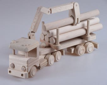 Educational Toy, Children Gift, Wooden Toy Truck, Baby Toy, Child's Toy Truck, Dumper truck, Plain Wood, Gift For Kids, Children's Toys