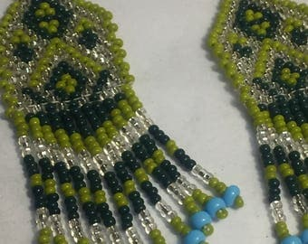 Greens with turquoise bead earrings