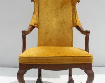 Jim Peed  For  Drexel  Tall WingBack   With  Brass Finals  Accent Chair .