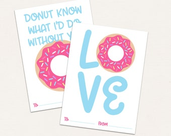 Donut Valentine Cards / Girls Classroom Valentine / DIGITAL / Donut Know What I'd Do Without You / Girls Valentine Cards / Donut Vday
