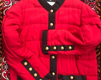 CHANEL BOUTIQUE Red and Black Jacket W/ CC buttons