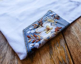 Floral Denim Pocket T-shirt