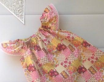 Girls Dress Flutter Sleeve Size 00, Floral, Roses, Patchwork, Pink, Yellow,boho, handmade girls dress, toddler dress, summer dress, party dr