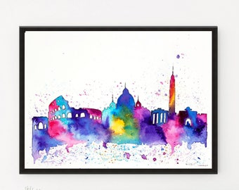 Rome Skyline, Skyline, Italy art, Watercolor Painting, Illustration, Travel art print, Rome Print, Holiday Gift, Printable art, City art
