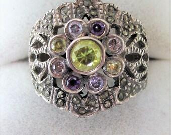 Superb Vintage Solid Silver Marcasite Semi Precious Gems Ring