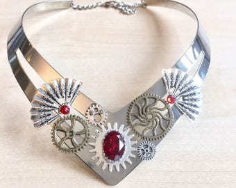 Steampunk with gears, metal, fan and Red Swarovski Crystal bib necklace