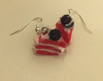 Red Velvet Cake earrings with their little macaroon