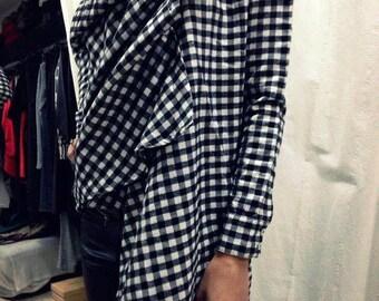 Plaid Tunic / Paradox / Asymmetric Shirt / Winter Blouse / Oversize Shirt / Long Sleeve Blouse / Casual Outfit PB0338