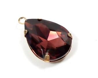 1 crystal glass Pear Plum/Gold 25 mm pendant