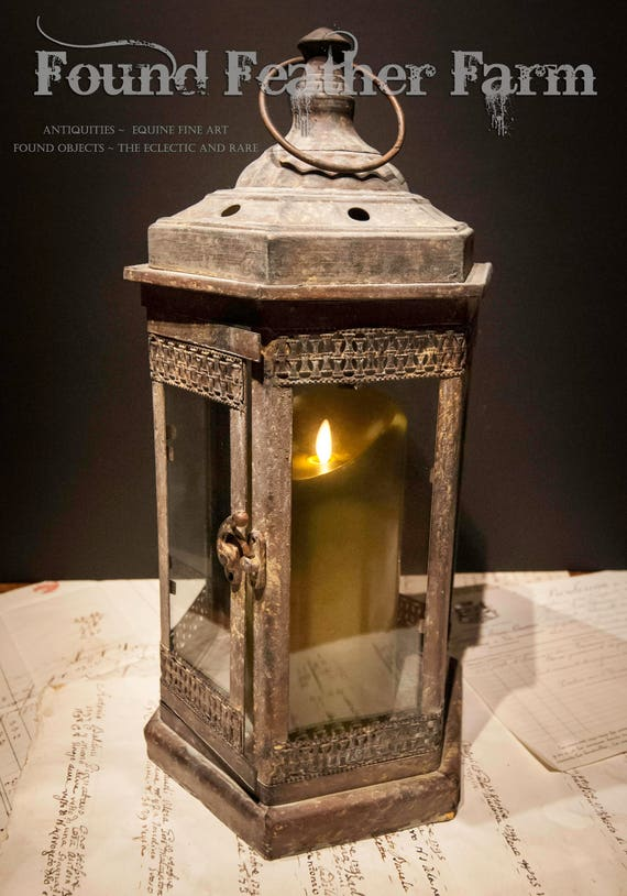 Vintage Hexagon Glass and Tin Lantern