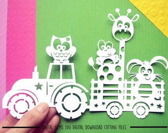 Animal tractor paper cut svg / dxf / eps / files and pdf printable template for hand cutting. Digital download. Small commercial use ok