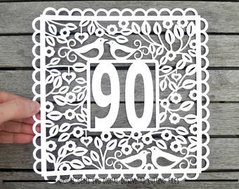 Number 90 paper cut svg / dxf / eps / files and pdf / png printable templates for hand cutting. Digital download. Small commercial use ok.