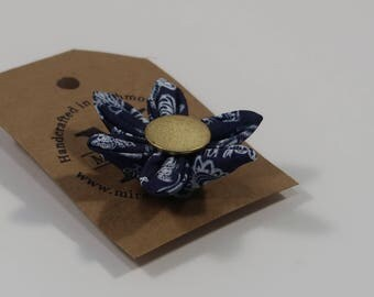 Silk Patterned Flower Lapel Pin