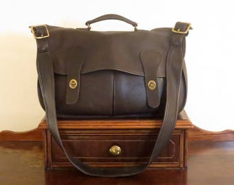 Spring Sale Coach Carrier Black Leather Bag With Brass Hardware Style No 9800- Made In United States- VGC