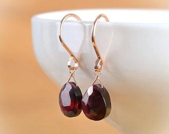 Rhodolite Garnet Earrings, Red January Birthstone Earrings, Dangle Drop Earrings Leverback Earrings: Rose Gold, Gold Filled, Sterling Silver