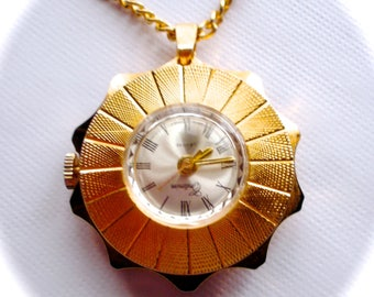 Criterion De Luxe Gold Filled Watch Necklace, Gold Filled Watch, Watch Necklace, Wind-up Gold Criterion Watch Pendant, Vintage Jewelry Gift