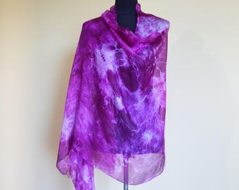 lilac purple silk scarf,  handpainted scarf, shibori silk scarves, original design.