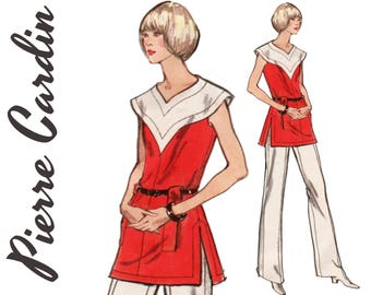 Pierre Cardin Designer Pattern 1970s Tunic and Pants VOGUE PARIS ORIGINAL 2698 bust 36 Yoked Tunic Straight Leg Pants Designer Tunic Pattern