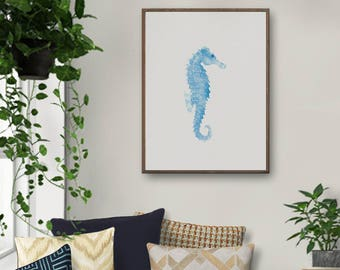 Nautical Nursery, Seahorse Art, Coastal Wall Art, Coastal Prints, Coastal, Large Wall Art, Bathroom Decor, Beach Decor, Blue Art