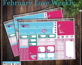 February Love Weekly, Print & cut, SVG, FCM, ScanNCut, Silhouette, Cricut, Happy planner