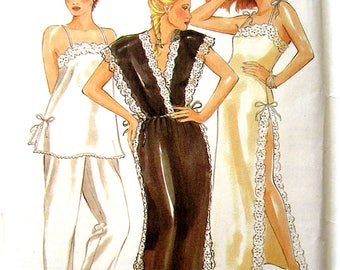 Vintage New Look Pattern 6313 Night Dress & Pajamas Sizes 8-18 Uncut